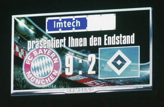 The score board is seen after a Bundesliga match between Bayern Munich and Hamburg