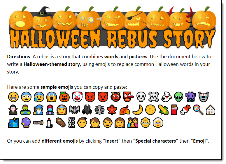Control Alt Achieve: Create Halloween Rebus Stories with