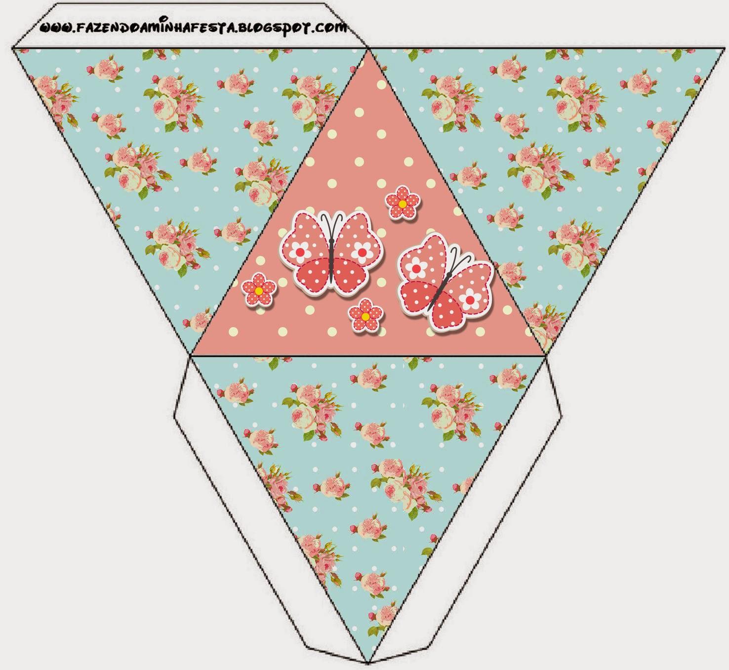 Caja con forma de pirámide de Pájaros y Mariposas.