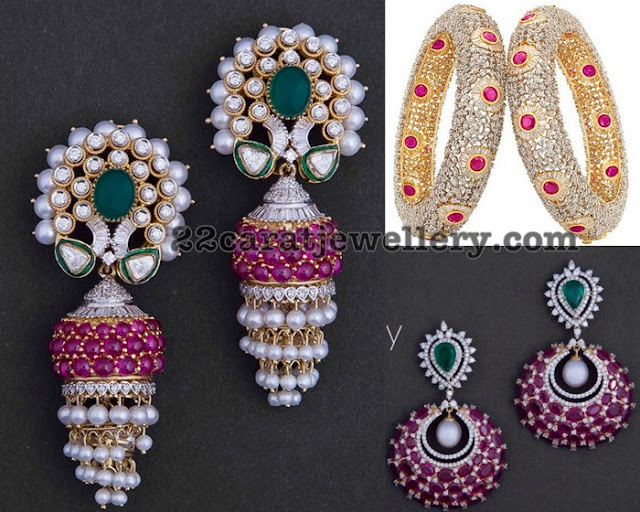 Ruby Diamond Jhumkas Bangles with Pearls