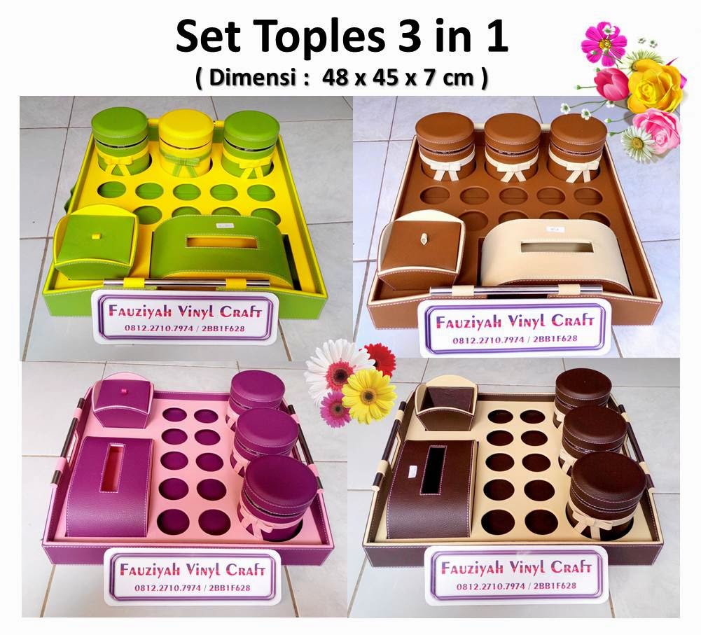 Toples Set Tanggung 3 in 1 / Tray Set 3 Toples, 10 Tempat Aqua, 1 Box Tisue, 1 Tempat Permen
