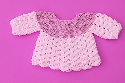 Imagen Chambrita azul y blanca a crochet y ganchillo por Majovel crochet 1