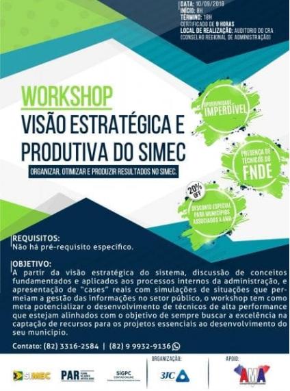 Workshop em Maceió vai discutir a visão estratégica e produtiva do Simec – o Sistema Integrado do MEC