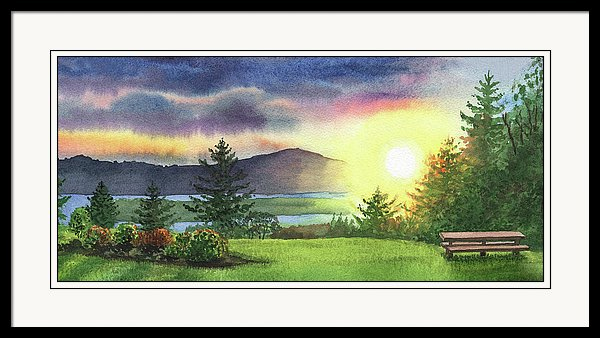 Sunset above Columbia River painted in watercolour