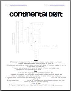 3-6 Free Resources: Continental Drift Crossword