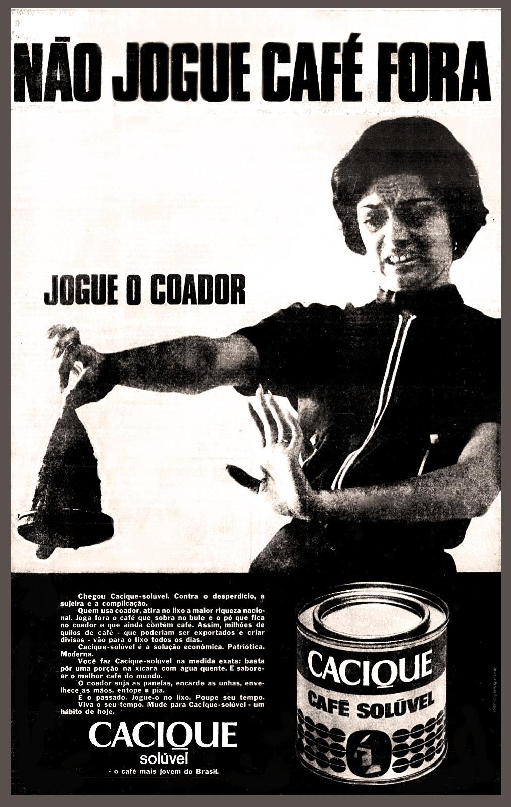 Propaganda antiga do Café Solúvel Cacique apresentado no começo dos anos 70