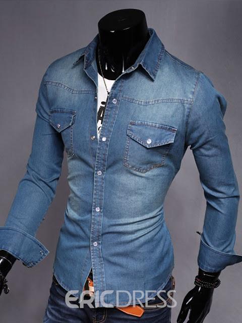 Denim Long Sleeve Casual Men's Shirt