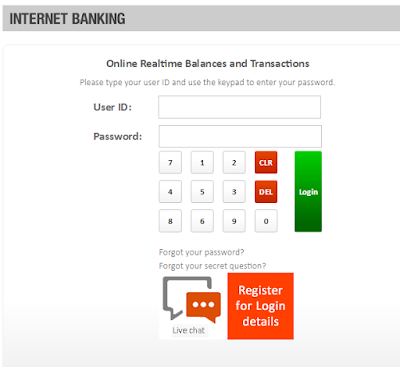 gtbank internet banking user id and password page