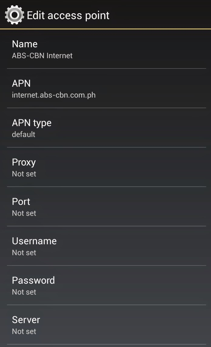 ABS-CBN Mobile APN