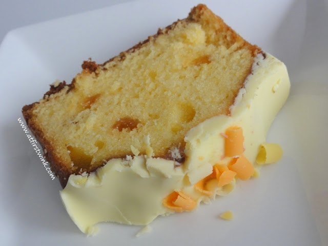 a slice of AH lemon fudge cake