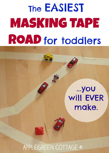 diy masking tape road for kids