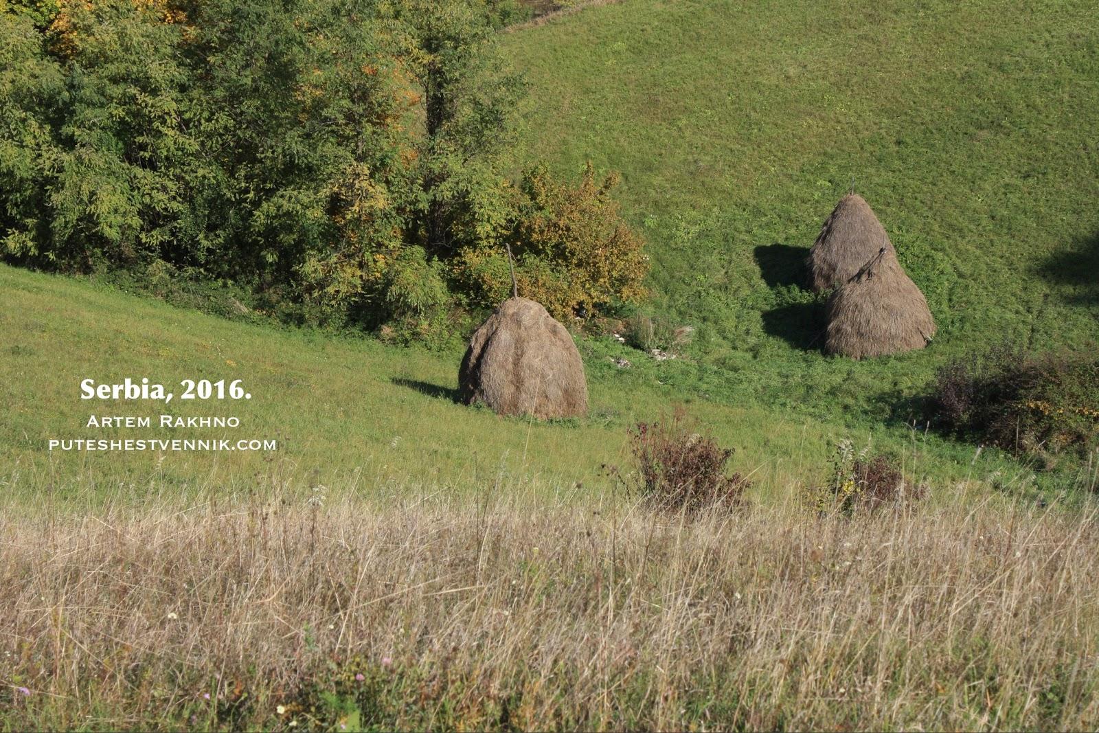 Три стога сена в поле в Сербии