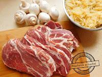 Karkówka pieczarki kapusta kiszona zapiekanka forma do zapiekania przepisy danie na obiad pomysł na obiadokolację mechanik w kuchni
