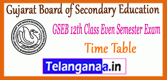 GSEB Gujarat Board of Secondary Education 12th Class 2nd 4th Semester Exam Time Table