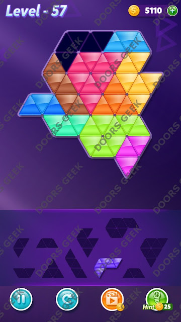 Block! Triangle Puzzle Master Level 57 Solution, Cheats, Walkthrough for Android, iPhone, iPad and iPod
