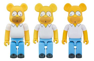 The Simpsons Homer Simpson 100%, 400% & 1,000% Be@rbrick Vinyl Figures by Medicom Toy
