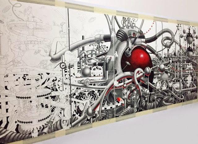 Mural rojo y gris en papel