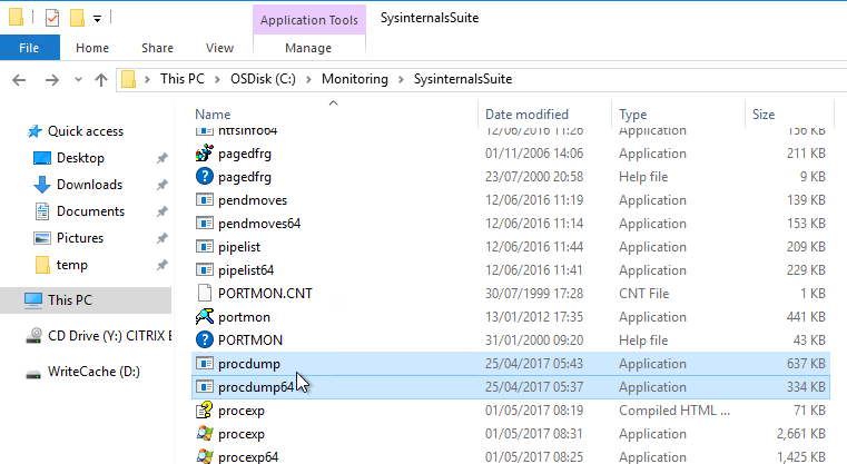 Remote use of Microsoft SysInternals: example Procdump