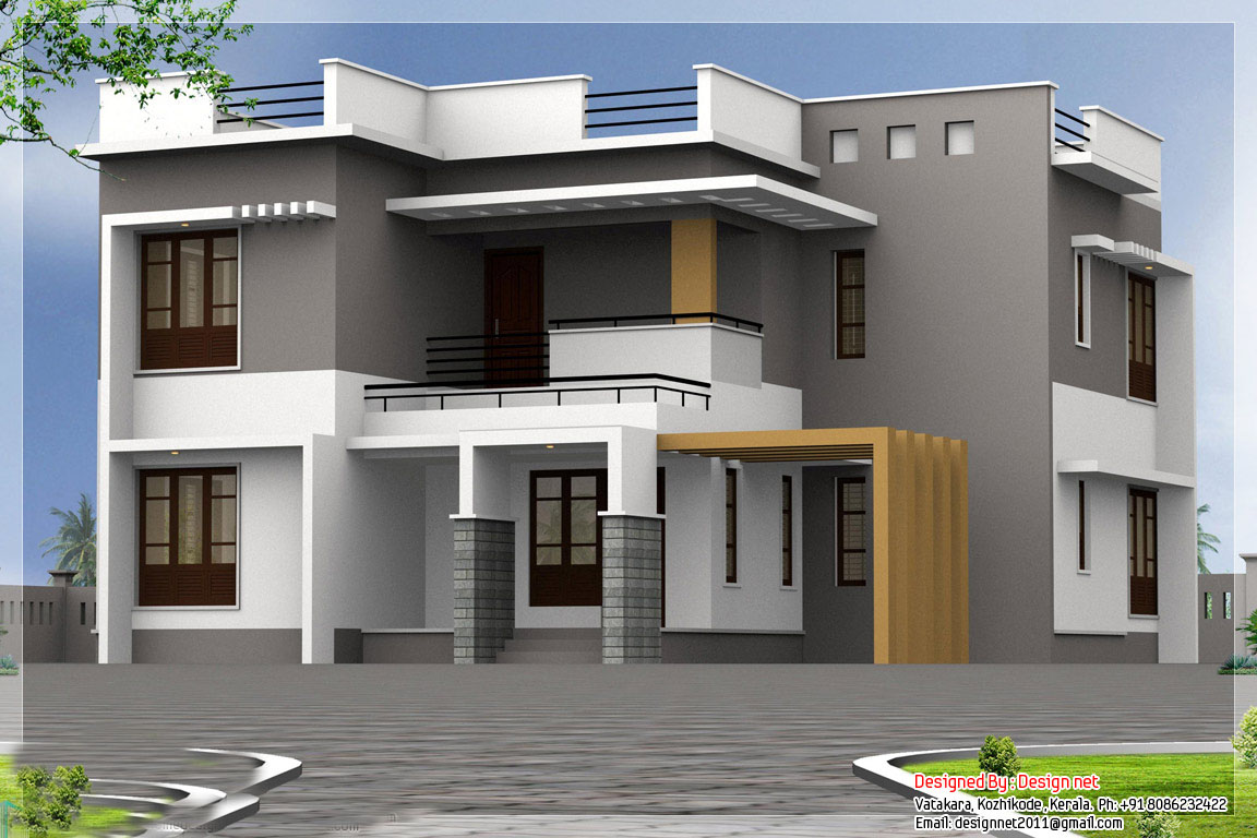 Two floor houses with 3rd floor serving as a roof deck for New home designs kerala