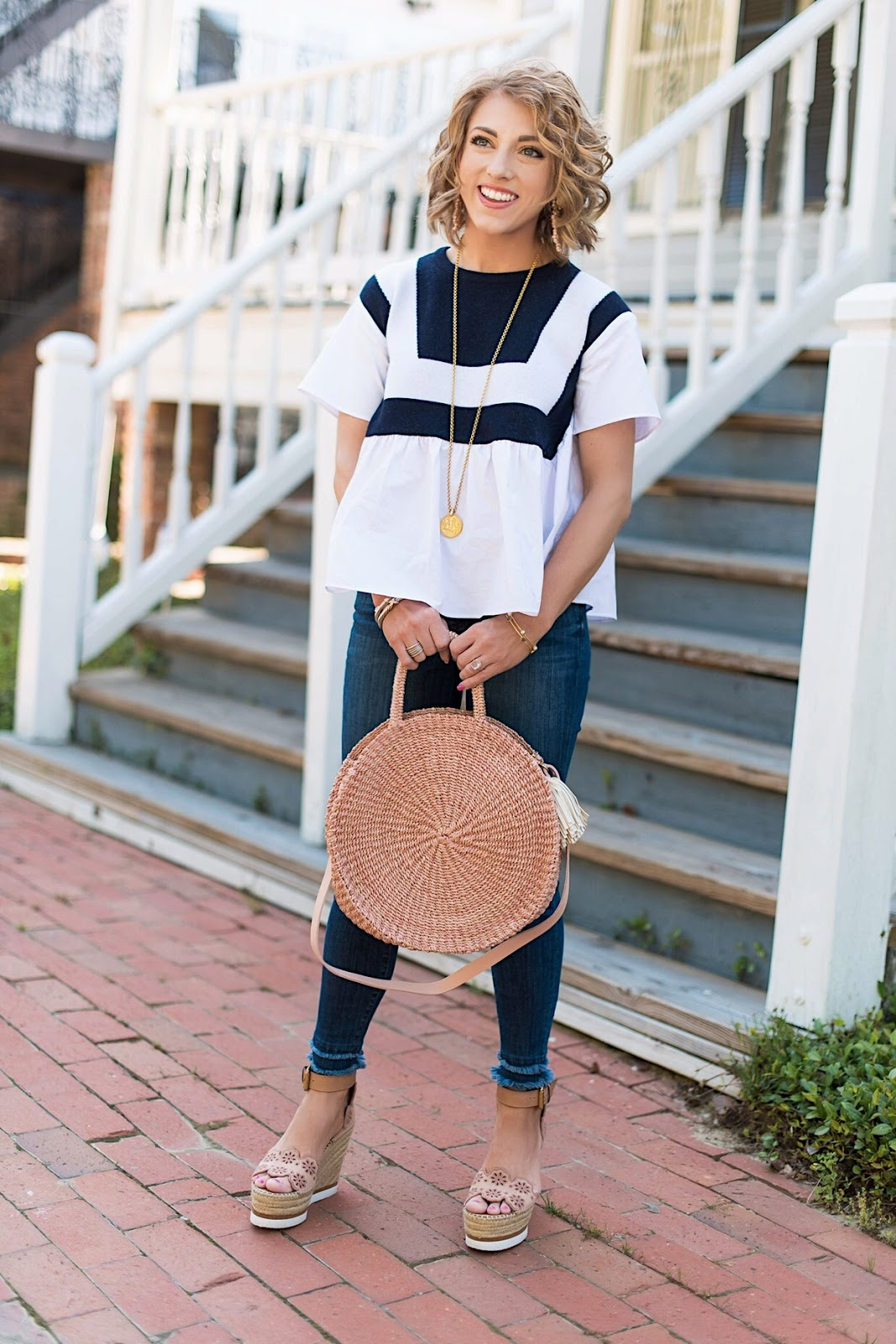 English Factory Navy and White Tanner Knit Top + Clare V. Alice Bag in Blush - Something Delightful Blog