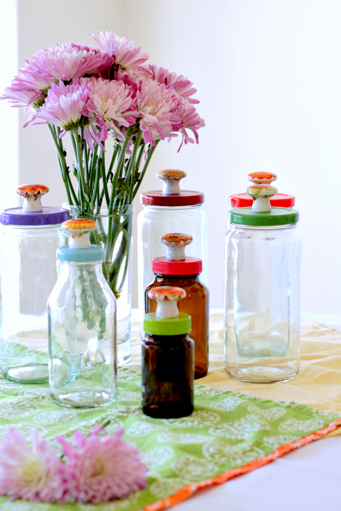 Recycled Jars with painted lids and faux ceramic knobs