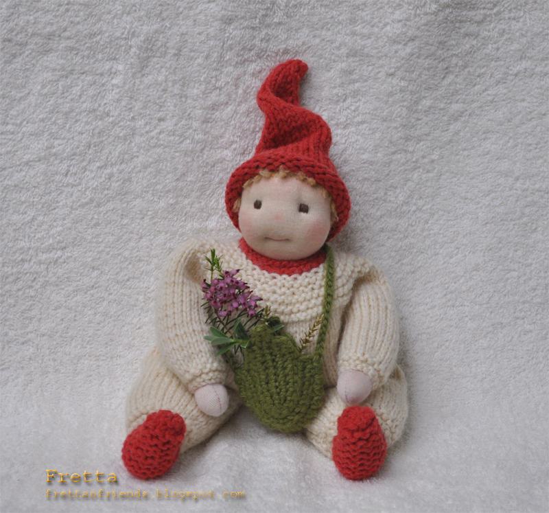 Gnome In Garden: Fretta: Waldorf Garden Gnome. Soft Sculptured All Natural