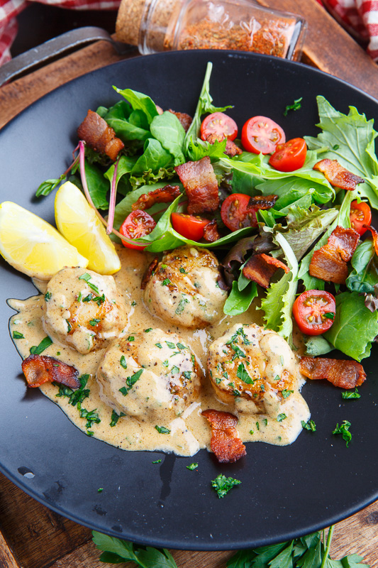 Seared Scallops in a Cajun Mustard Cream Sauce