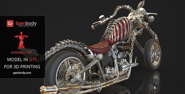 Devil Chopper Motorcycle 3D Printable Model