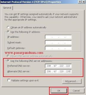 masukan ip addresses dns tujuan