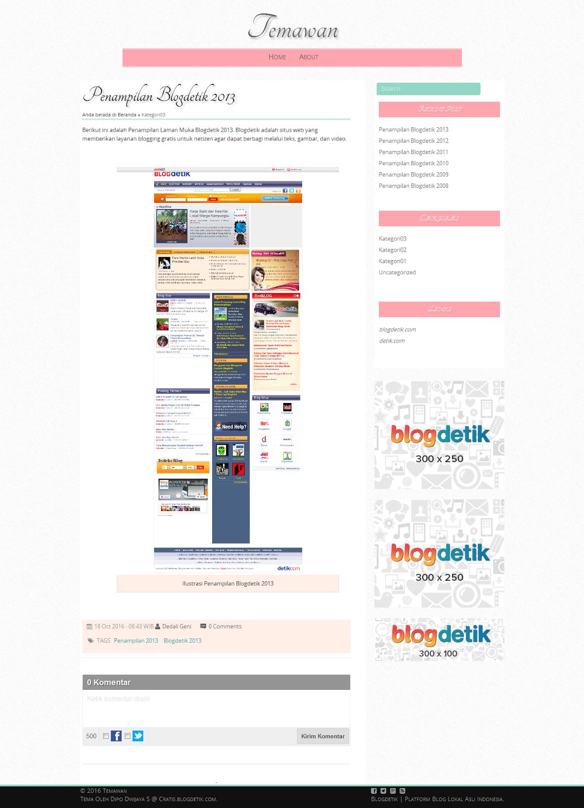 Tema Blogdetik Nikens untuk Laman Posting - Cratis