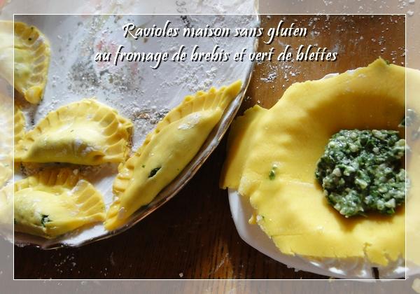 Ravioles au fromage de brebis et vert de blettes (ou épinard) sans gluten