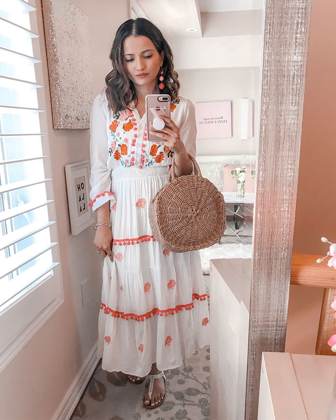 Summer 2018 Cute Summer Dress Blogger Outfit Chicwish Pom Pom Maxi Dress Circle Straw Bag