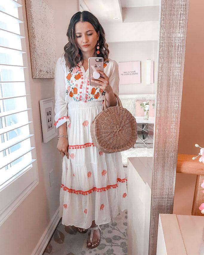 8ad80b5b46e Summer 2018 Cute Summer Dress Blogger Outfit Chicwish Pom Pom Maxi Dress  Circle Straw Bag ...