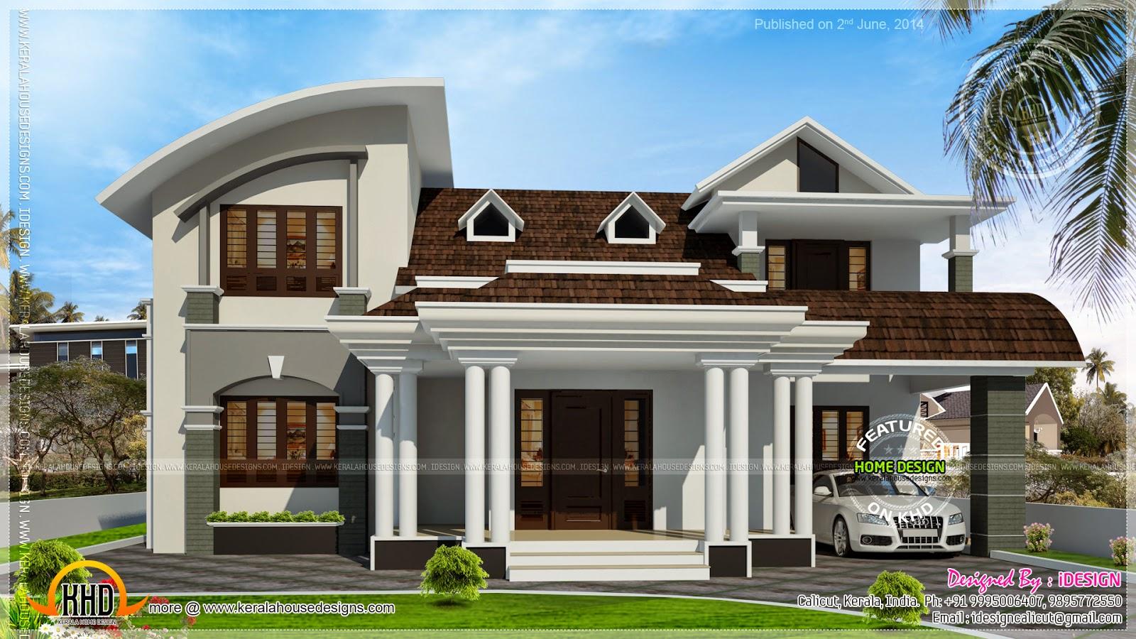 House with beautiful dormer windows - Kerala home design ...
