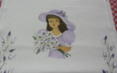 boneca pintada para saia de croche lilas