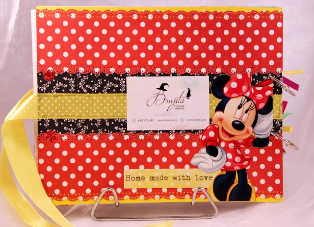 prezent na roczek, album ręcznierobiony, dla diewczynki na urodziny, Myszka Miki, Walt Disney,  Myszka Minie, scrapbooking, handmade, pudełko na skarby, komplet urodzinowy