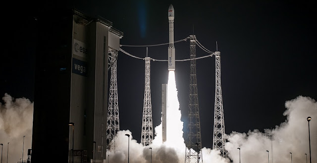 Mohammed VI-B is launched by Arianespace's Vega rocket. Photo Credit: Arianespace