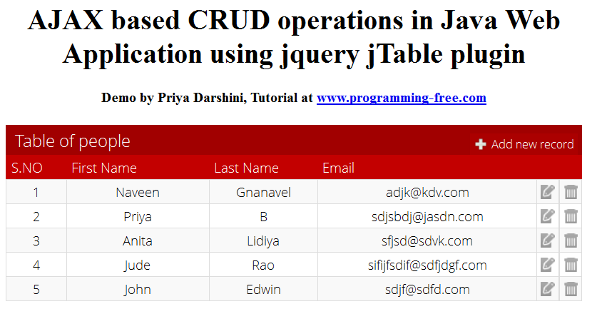 CRUD Operations in Java Web Applications using jTable jQuery