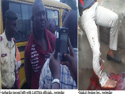 taxi driver breaks lastma official leg