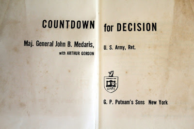 "Inside book cover title"" Countdown for decision"" by Major General Medaris"