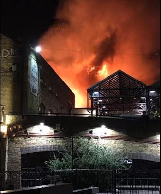 Huge fire rips through Camden Market in London