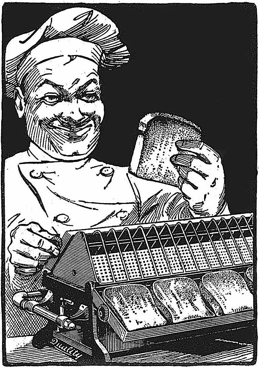 a 1926 hotel bread toaster with a chef, an illustration
