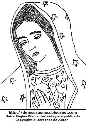 Dibujo de la Nuestra Señora de Guadalupe para colorear pintar imprimir. Dibujo de la Virgen de Guadalupe hecho por Jesus Gómez