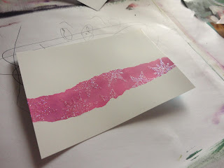 Pink panel across a card, with glitter snowflakes