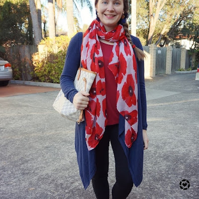awayfromtheblue instagram navy and red skinny jeans outfit with poppy print scarf LV NF tote