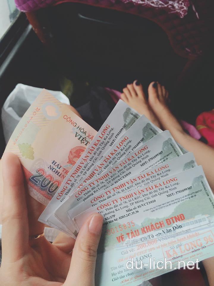 Giá vé tàu đi Cô Tô và trở về cảng Vân Đồn là 200K