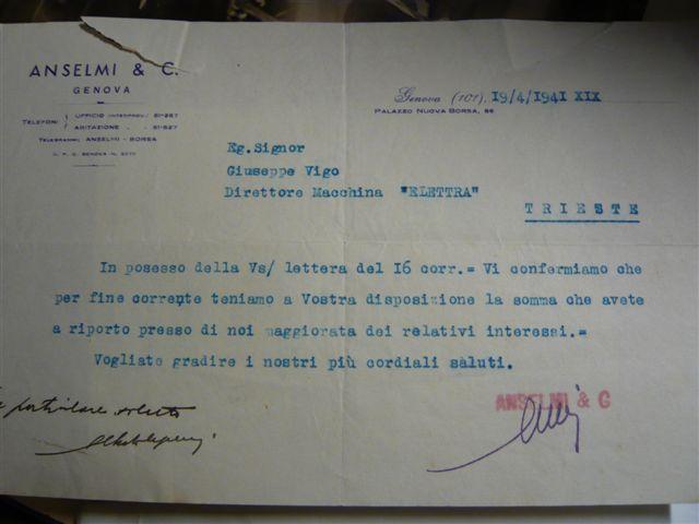 Lettera del comandante dell'Elettra, Vigo