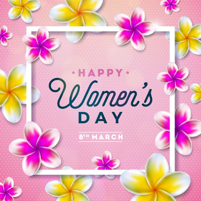 Flower with Woman Day card free vectors