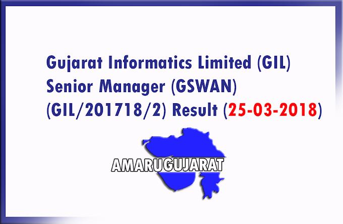Gujarat Informatics Limited (GIL) Senior Manager (GSWAN) (GIL/201718/2) Result (25-03-2018)