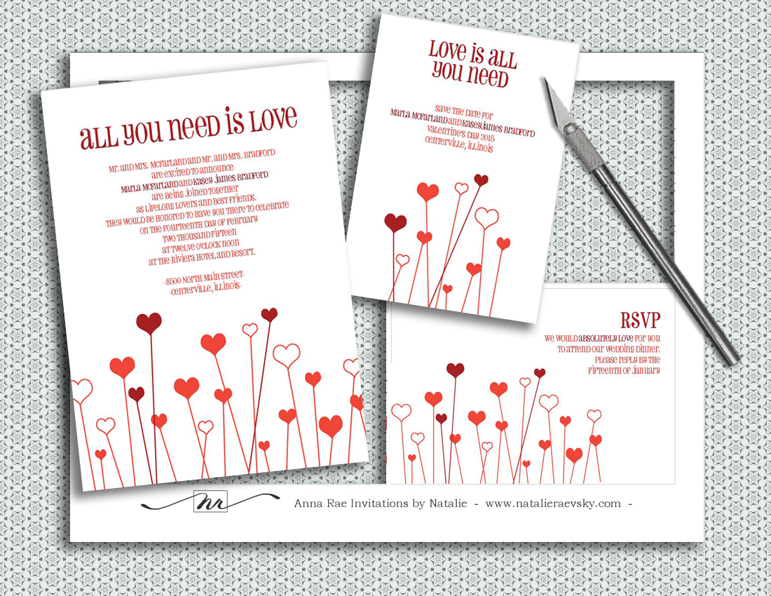 All You Need Is Love Wedding Invitations: I Am An Artist.: Valentine's Day DIY Wedding Invitations